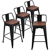 Andeworld Set of 4 Tolix-Style Counter Height Bar Stools Industrial Metal Bar Stools Indoor-Outdoor, Low Back (24 Inch, Matte Black with Wooden Top)