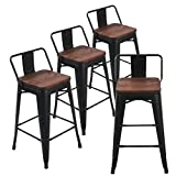 Andeworld Set of 4 Tolix-Style Counter Height Bar Stools Industrial Metal Bar Stools Indoor-Outdoor, Low Back (26 Inch, Matte Black with Wooden Top) Review