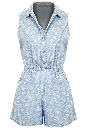 Damen Frauen Denim Blumen Druck Muster Shirt Kragen Taschen Playsuit Denim