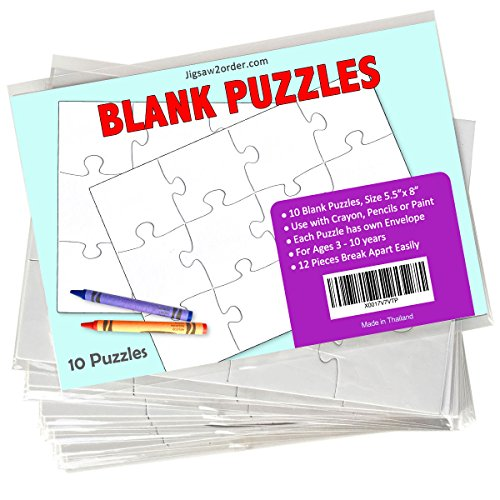 "Jigsaw2order 12 piece Blank Puzzle Craft Activity, Pack of 10 Puzzles, size 5.5"" x 8"" with Individual Envelope"