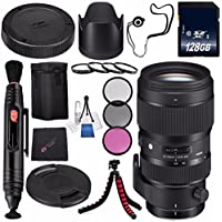Sigma 50-100mm f/1.8 DC HSM Art Lens for Nikon F #693955 + 82mm 3 Piece Filter Kit + 128GB SDXC Memory Card + Lens Pen Cleaner + Cloth + Flexible Tripod Bundle (International Model No Warranty)