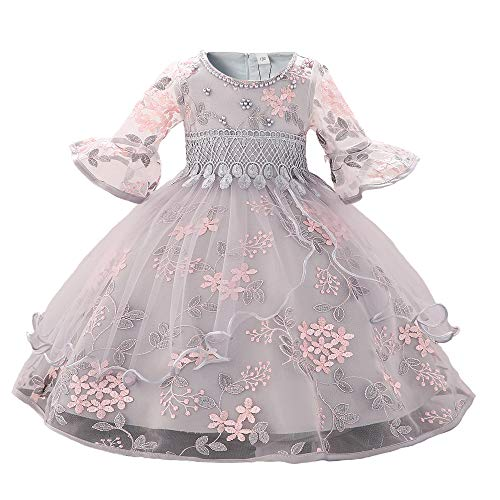 Myosotis510 Girls' Lace Princess Wedding Baptism Dress Long Sleeve Formal Party Wear for Toddler Baby Girl (7-8 Years, Backless White)]()