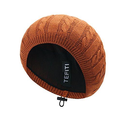 TEFITI Adjustable Chenille Snoods Lightweight Knit Beanie Hat Headcover for Women (Pumpkin)
