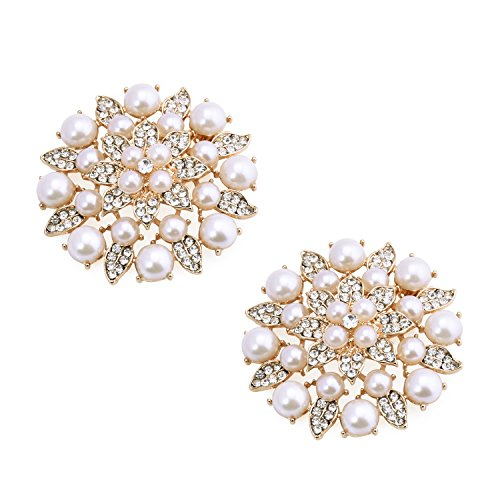 ElegantPark BK Fashion Rhinestones Pearls Women Wedding Accessories Dress Hat Shoes Clips 2 Pcs Gold
