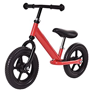"Costzon 12"" Classic No-Pedal Balance Bike Kids Walking Bicycle, Adjustable Seat (Red)"