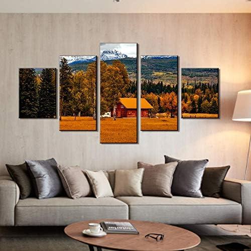 5ピースカントリーウォール写真納屋アートワーク絵画用リビングルームキャンバス壁アート現代ホームデコレーション40X60Cmx2 40X80Cmx2 40X100Cmx1なしフレーム
