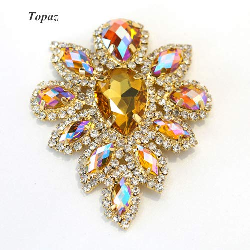 Pukido 5.84.5cm Crystal AB GlassCrystal Rhinestones Applique Gold Base Multicolor Applique Sew On Rhinestone for Wedding Dress B3528 - (Color: Topaz)