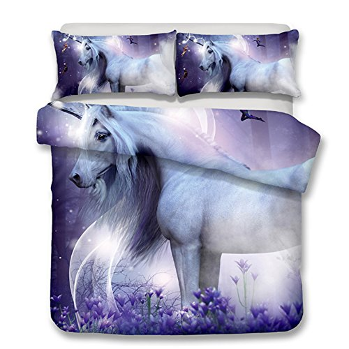alibalala 100% Polyester Queen Unicorn Print Bedding Cover for Kids Girls, Purple Cartoon Horse Printed Duvet Cover Set 3 Piece Boys Comforter Cover Sets with Hidden Zipper
