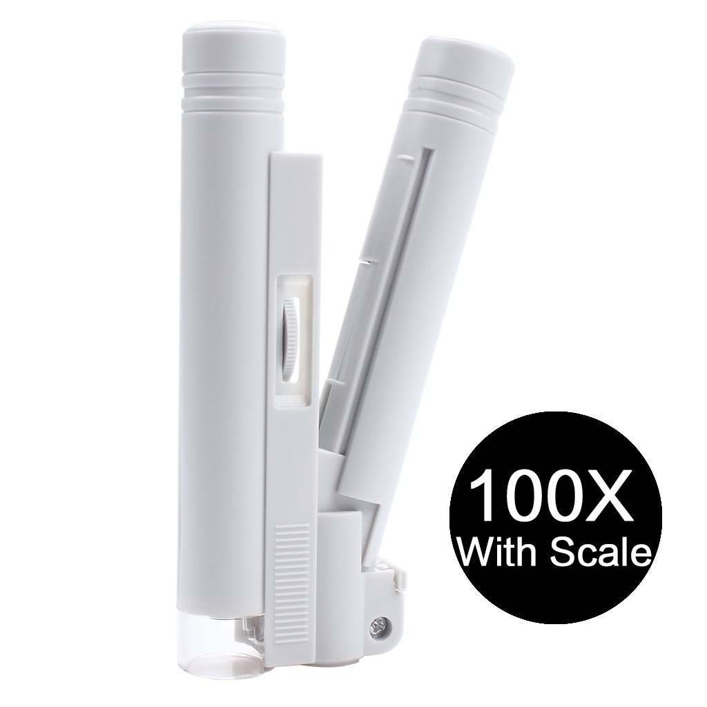 100X Zoom Handheld Microscope con Focusing Gear LED Lamp, Lupa Lupa de alta potencia con escala, para educación y reloj Hobbies: Amazon.es: Electrónica