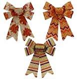 DTSC Fall Autumn Harvest Rustic Decorative Printed Glittered Burlap Bows, 6-ct