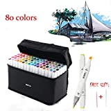 80 Colors Dual Tips Permanent Marker Pens Art Markers for Kids,Alcohol Based Markers Colored Artist Drawing Marker Set with Carrying Case for Adults Coloring Drawing Sketching Illustration Underlining