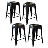Cheap AmeriHome Loft Black 24 Inch Metal Bar Stool – 4 Piece BS24BLKSET
