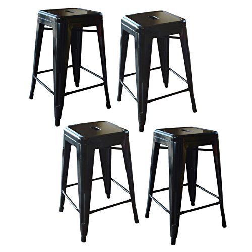 Buffalo Tools 24 in. Metal Barstool in Black - Set of 4 Buffalo Adjustable Bar Stools