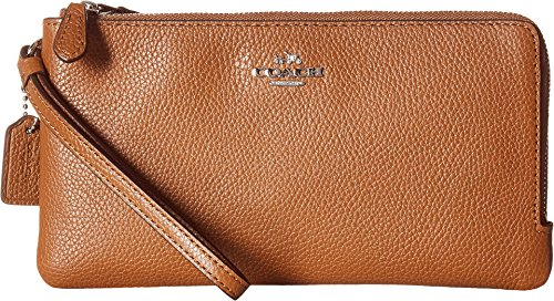 coach-womens-polished-pebbled-double-zip-wallet-silver-saddle-checkbook-wallet