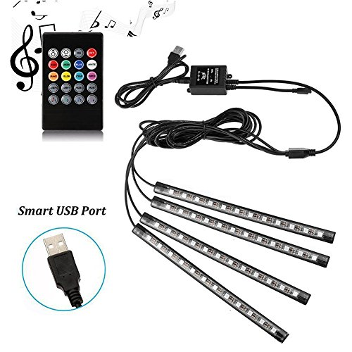 Car LED Strip Lights - SurLight 4pcs 48 LED Multicolor Music Car Interior Atmosphere Lights, USB LED Strip for Car TV Home with Sound Active Function, Wireless Remote Control and (Led Sound Activated Lights)