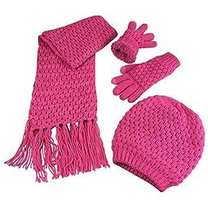 N'Ice Caps Big Girls Sherpa Lined Popcorn Stitch Beanie Scarf Gloves Set
