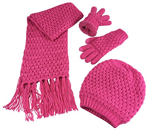 N'Ice Caps Big Girls Sherpa Lined Popcorn Stitch Beanie Gloves Scarf 3PC Set (10-14 Years, Fuchsia)