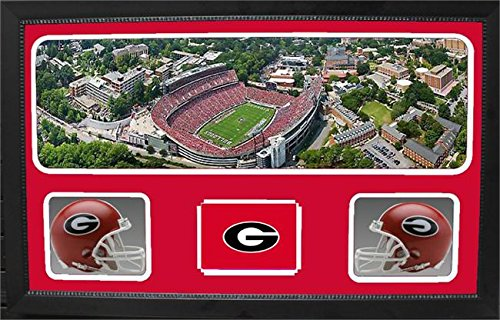 Encore Select 657-05 NCAA Georgia Bulldogs Custom Framed Sports Memorabilia with Two Mini Helmets Photograph and Name Plate by Encore