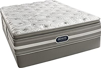 Beautyrest Recharge World Simmons Class Coral Plush Pillow Top Mattress Set, Standard Height Box Spring, Queen