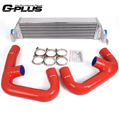 (Twin Turbo Aluminum Performance Intercooler Upgrade Kit + Intercooler Pipe Kit Fit For VW Golf R GTI MK7 2.0T)