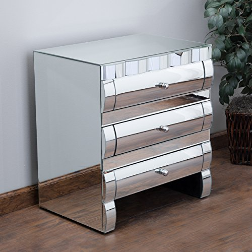 Isadora Mirrored 3-Drawer Nightstand / Accent Table by Great Deal Furniture