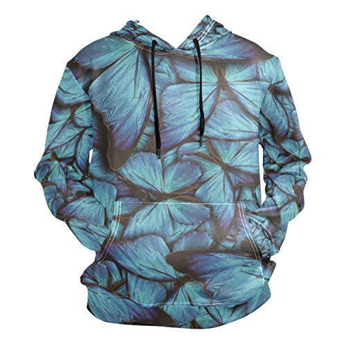 DERLONKAJE Mens Pretty Blue Butterflies Hooded Hoodie Casual Pullover Sweatshirt