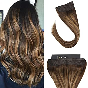 Sunny 12inch Remy Invisible Halo Hair Extensions Dark Brown Fading To Caramel Blonde Balayage