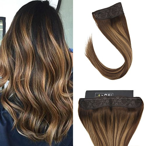 Sunny 20inch Remy Invisible Halo Hair Extensions Dark Brown Fading to Caramel Blonde Balayage Hidden Wire Extensions Human Hair 100g/pack -