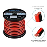 BNTECHGO 12 Gauge Flexible 2 Conductor Parallel Silicone Wire Spool Red Black High Resistant 200 deg C 600V for Single Color LED Strip Extension Cable Cord,model,lead wire 50ft Stranded Copper Wire