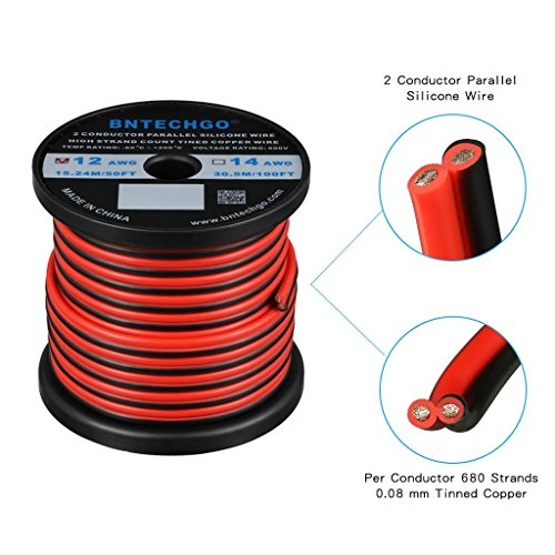 BNTECHGO 12 Gauge Flexible 2 Conductor Parallel Silicone Wire Spool Red Black High Resistant 200 deg C 600V for Single Color LED Strip Extension Cable Cord,Model,Lead Wire 50ft Stranded Copper Wire ()