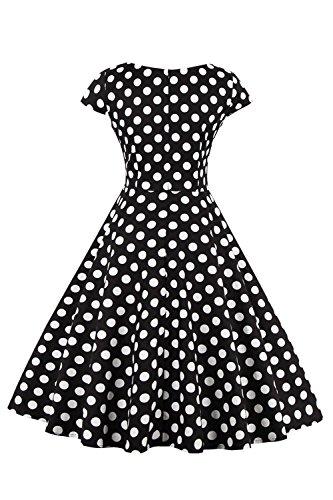 Vintage Babyonlinedress Femme Style Col de A Robe Bal Cocktail Manches Hepburn Audrey soire 50 Courte Courtes Blanc Swing avec ligne Rtro V Impression Rockabilly 88qvdr
