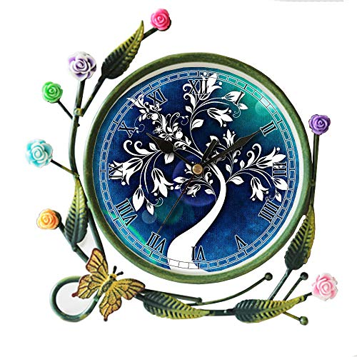 girlsight Iron Art Living Room Butterfly Flower Leaf Decorative Non-Ticking Quartz, Analog Large Numerals Bedside Table Desk Alarm Clock-609.Tree Abstract Art Flowers Leaves Structure Blue