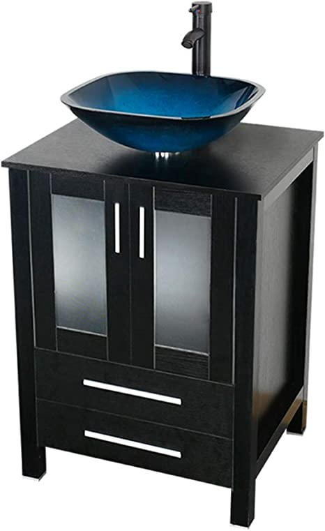 24/'/' Bathroom Floating Vanity Cabinet Wall Mount Vessel Glass Oval Sink Bowl Set