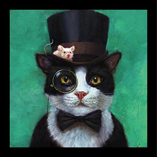 (Buyartforless Framed Tuxedo Cat with Mouse in Hat by Lucia Heffernan 12x12 Steampunk Art Print Poster Humor)