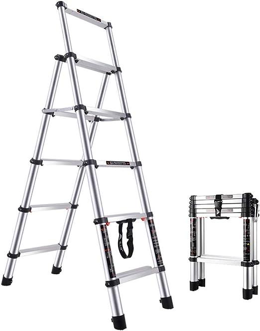 Escalera Telescópica, Escalera telescópica de 1.62 m / 5.31 pies Escalera de extensión de Bastidor, Escalera telescópica de Aluminio Uso múltiple de Uso múltiple: se sugiere 150 kg - 5 Pasos: Amazon.es: Hogar