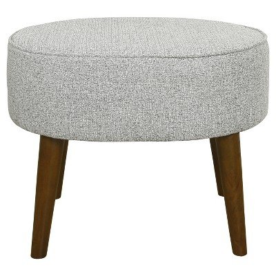 Mid Century Oval Ottoman with Wood Legs - Ash Grey - Homepop ASH Gray by HomePop