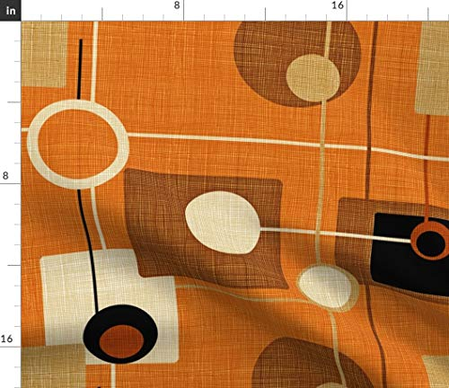 Spoonflower Mid Century Modern Fabric - Orbs and Squares Orange Atomic Vintage Pattern Fifties Brown Mod Print on Fabric by The Yard - Eco Canvas for Durable Upholstery Home Decor Accessories