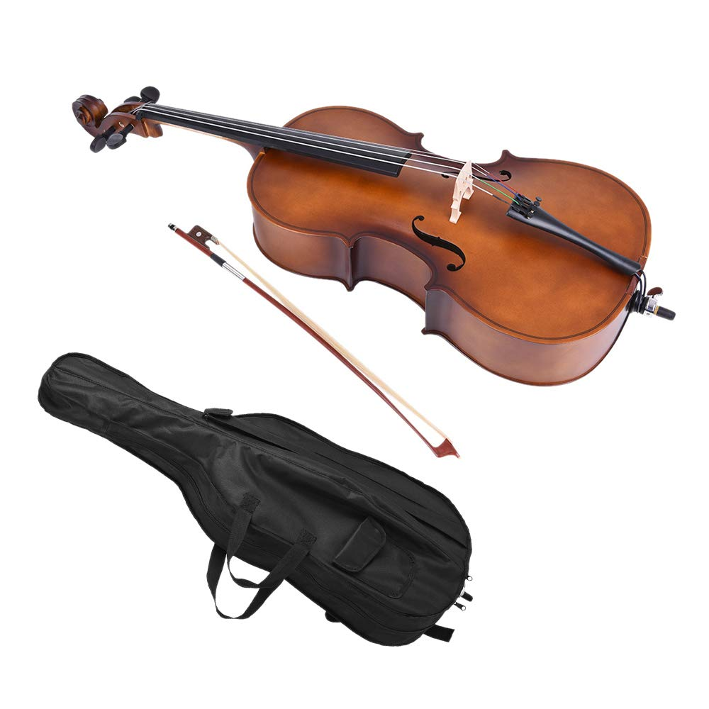 ammoon I1998-2 1/2 Solid Wood Cello Matte Finish Basswood Face Board with Bow Rosin Carrying Bag for Students Music Lovers by ammoon