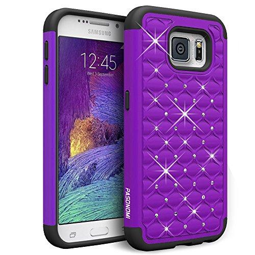 Galaxy S6 Case, Pasonomi® Hybrid Stud Rhinestone Bling Armor Defender Case Cover for Samsung Galaxy S6 with Dazzling Diamond (Purple)