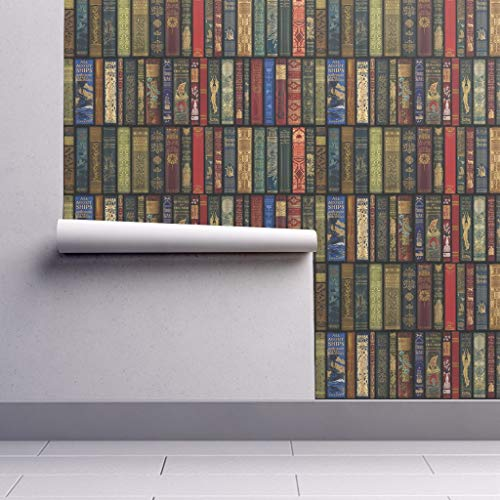 Removable Water-Activated Wallpaper - Books Literature Book Books Library Bookcase Photographic Book by Peacoquettedesigns - 24in x 144in Smooth Textured Water-Activated Wallpaper Roll