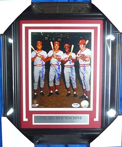 Cincinnati Reds Big Red Machine Autographed Framed 8x10 Photo With 4 Signatures Including Johnny Bench, Pete Rose, Joe Morgan & Tony Perez PSA/DNA #4A85987 Big Red Machine Framed Photo
