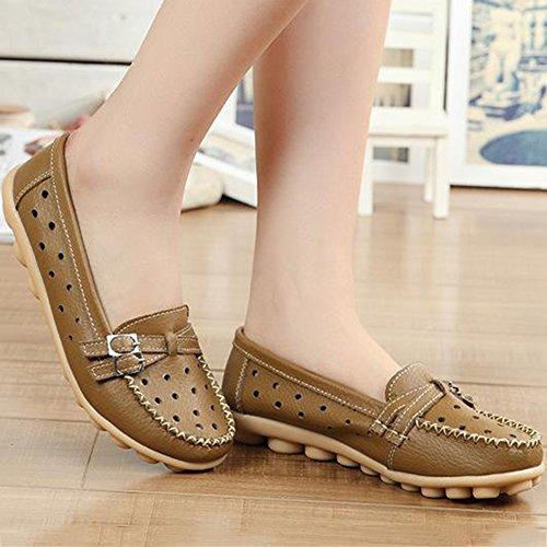 Loisir Kaki Slip Bateau Respirant De Cuir Plates Femme Chaussures Loafers On Gesimei Mocassins ZFUzqtw