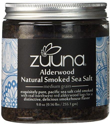 UPC 820103400589, Pure Alderwood Natural Smoked Sea Salt by ZUUNA® (Medium Grain) 9.0oz.; 100% Natural, Gourmet Smoked Sea Salt