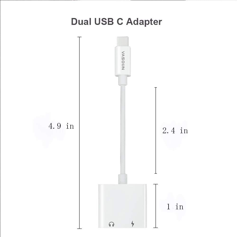 Mac Book Black Huawei Mate 10//20 Pro VASOUN USB C to 3.5 mm Headphone Adapter HTC Fast Charge and Type C Jack Headphone Audio Adapter for Pixel 3//2 // XL 2-in-1 USB C Adapter 2018 iPad Pro