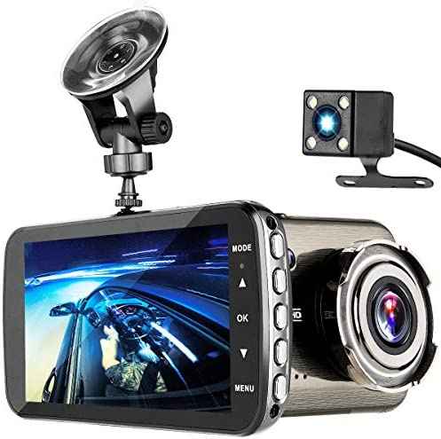 Dash Cam, TEMEISI 1080P Full HD Dual Dash Cam Front and Rear, DVR Car Driving Recorder with 4.0 IPS Touch Screen Night Vision WDR G-Sensor Loop Recording Motion Detection 310-1