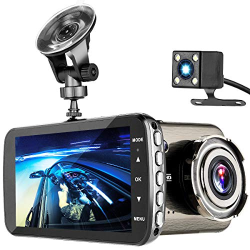 Dash Cam, TEMEISI 1080P Full HD Dual Dash Cam Front and Rear, DVR Car Driving Recorder with 4.0″ IPS Touch Screen Night Vision WDR G-Sensor Loop Recording Motion Detection
