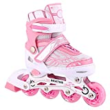 ANCHEER Inline Skates Adjustable with Light Up Wheels Beginner Roller Fun Flashing Illuminating Roller Skates for Kids Boys and Girls and 3 Sizes.