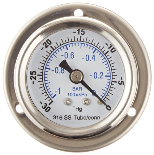 PIC Gauge 701DDS-T-252F Dry Filled Bottom Mount Pressure Gauge with WHITE PVDF Case 1//2 Female NPT Connection Size Molded Diaphragm Seal Viton Wetted Parts 0//160 psi Range 2-1//2 Dial Size PIC Gauges PTFE Dual Scale 2-1//2 Dial Size