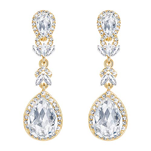 BriLove Wedding Bridal Dangle Earrings for Women Crystal Marquise Leaf Teardrop Chandelier Earrings Clear Gold-Toned - Gold Clear Crystal