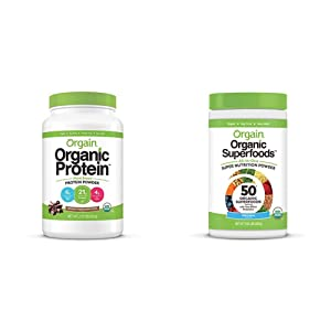 Orgain Organic Plant Based Protein Powder, Creamy Chocolate Fudge, 2.03 Pound & Organic Green Superfoods Powder, Original - Antioxidants, 1 Billion Probiotics, Vegan, Dairy Free, 0.62 Pound